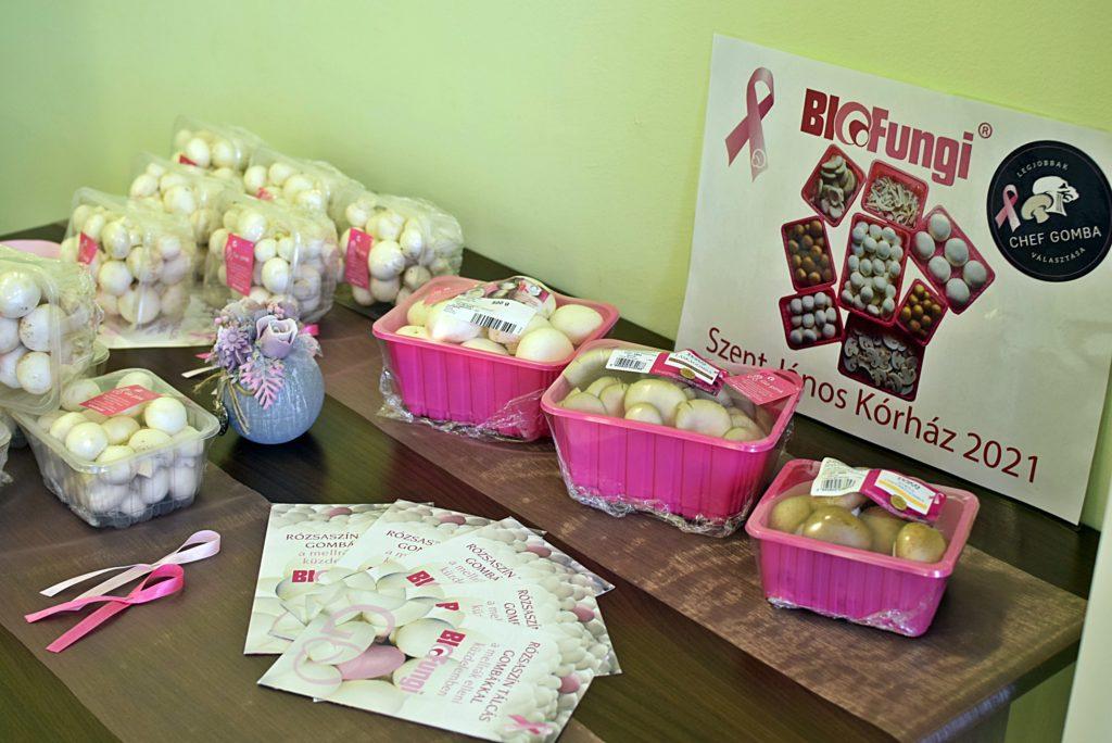Termesztett laskagomba és csiperke gomba rózsaszín tálcán a GoPink! októberi kampány keretében